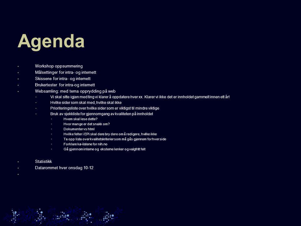Mål for workshopen • Sette opp prioriterte mål for intranettet • Identifisere ulike målgrupper • Identifisere de viktigste funksjoner og innhold på intranettet