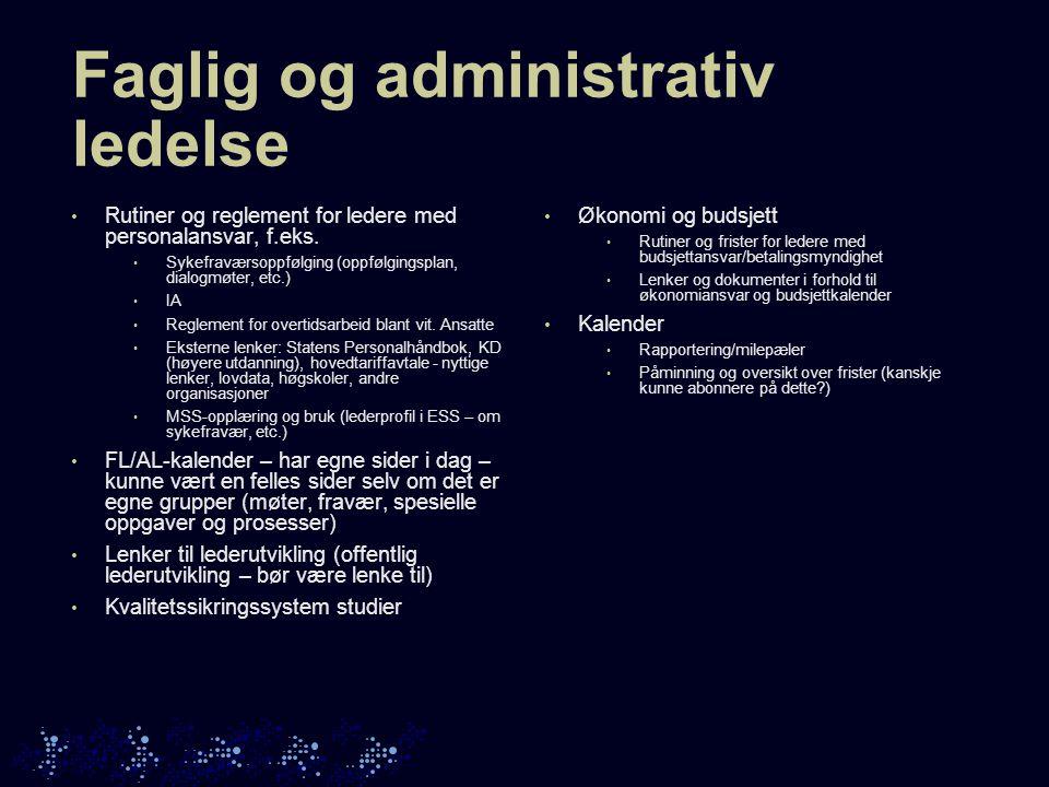 Faglig og administrativ ledelse • Rutiner og reglement for ledere med personalansvar, f.eks.