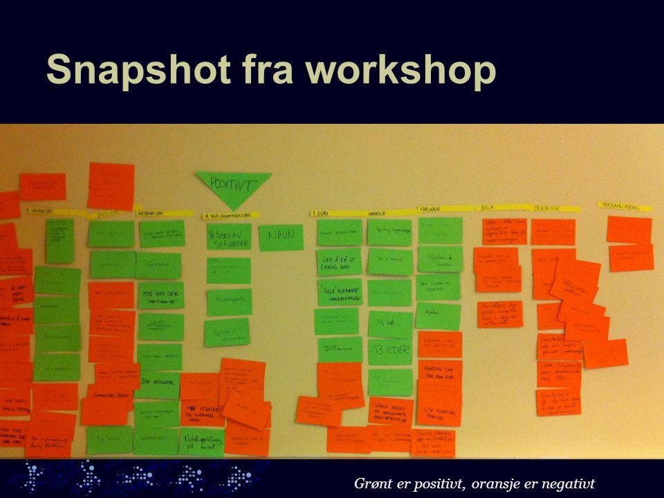 Snapshot fra workshop Grønt er positivt, oransje er negativt
