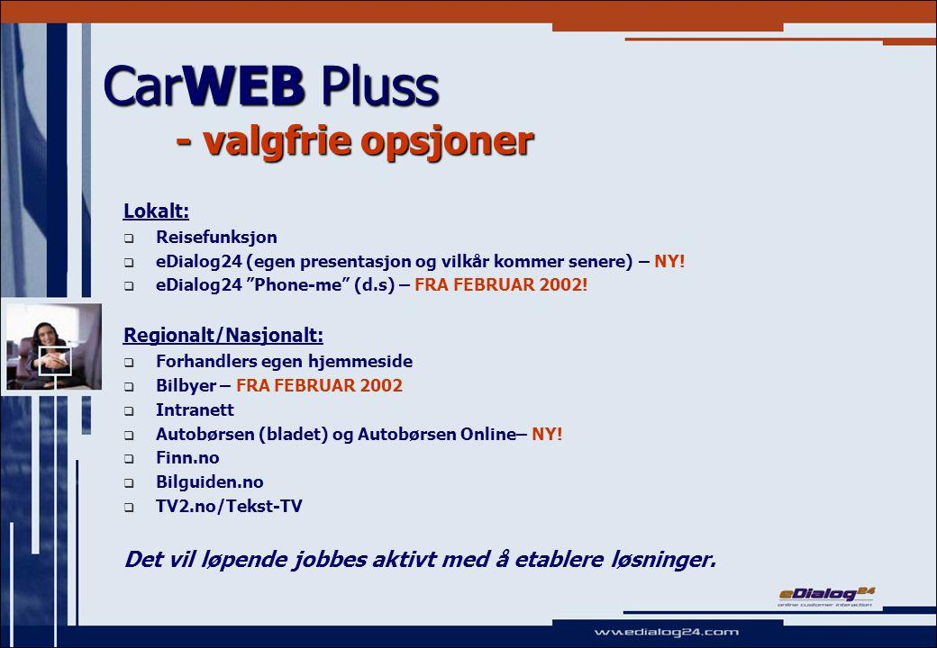 CarWEB Pluss - valgfrie opsjoner Lokalt:   Reisefunksjon   eDialog24 (egen presentasjon og vilkår kommer senere) – NY.