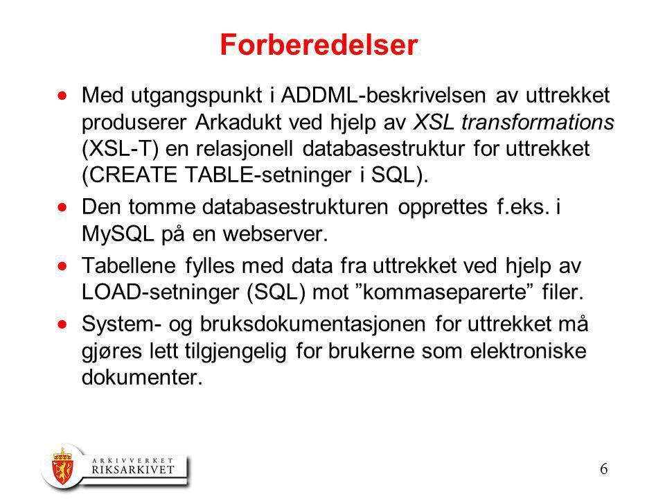 6 Forberedelser  Med utgangspunkt i ADDML-beskrivelsen av uttrekket produserer Arkadukt ved hjelp av XSL transformations (XSL-T) en relasjonell databasestruktur for uttrekket (CREATE TABLE-setninger i SQL).