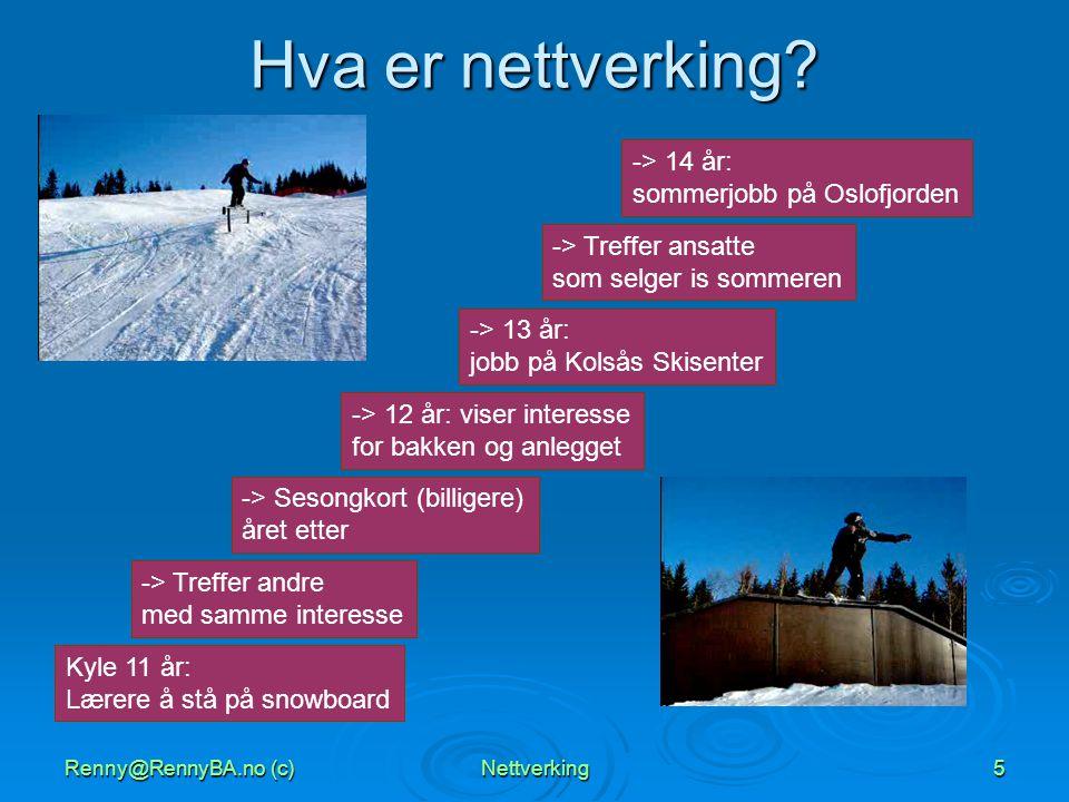 Renny@RennyBA.no (c)Nettverking5 Hva er nettverking? Kyle 11 år: Lærere å stå på snowboard -> Treffer andre med samme interesse -> Sesongkort (billige