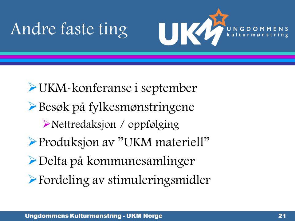 Ungdommens Kulturmønstring - UKM Norge21 Andre faste ting  UKM-konferanse i september  Besøk på fylkesmønstringene  Nettredaksjon / oppfølging  Pr