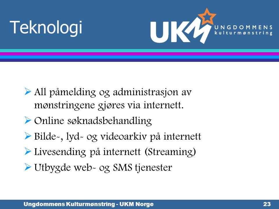 Ungdommens Kulturmønstring - UKM Norge23 Teknologi  All påmelding og administrasjon av mønstringene gjøres via internett.  Online søknadsbehandling