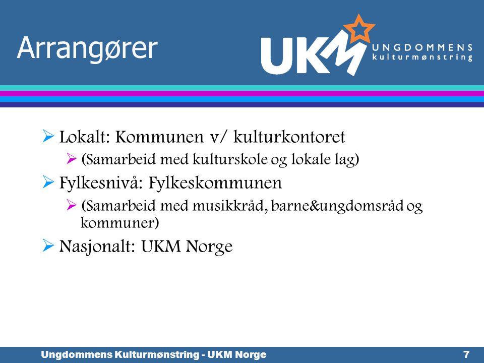 Ungdommens Kulturmønstring - UKM Norge7 Arrangører  Lokalt: Kommunen v/ kulturkontoret  (Samarbeid med kulturskole og lokale lag)  Fylkesnivå: Fylk