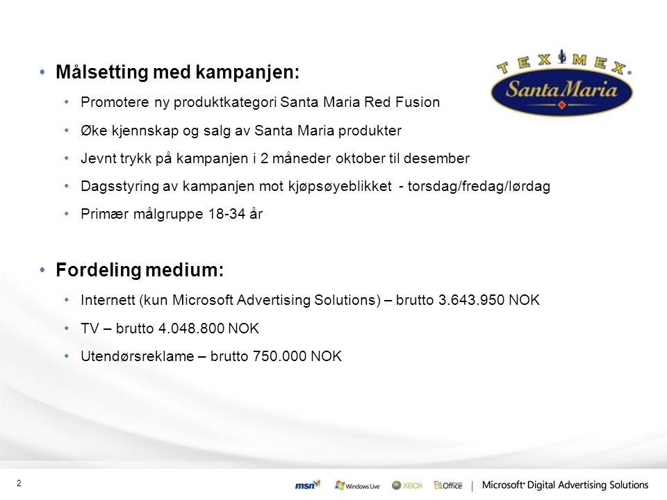 •Målsetting med kampanjen: •Promotere ny produktkategori Santa Maria Red Fusion •Øke kjennskap og salg av Santa Maria produkter •Jevnt trykk på kampanjen i 2 måneder oktober til desember •Dagsstyring av kampanjen mot kjøpsøyeblikket - torsdag/fredag/lørdag •Primær målgruppe 18-34 år •Fordeling medium: •Internett (kun Microsoft Advertising Solutions) – brutto 3.643.950 NOK •TV – brutto 4.048.800 NOK •Utendørsreklame – brutto 750.000 NOK 2