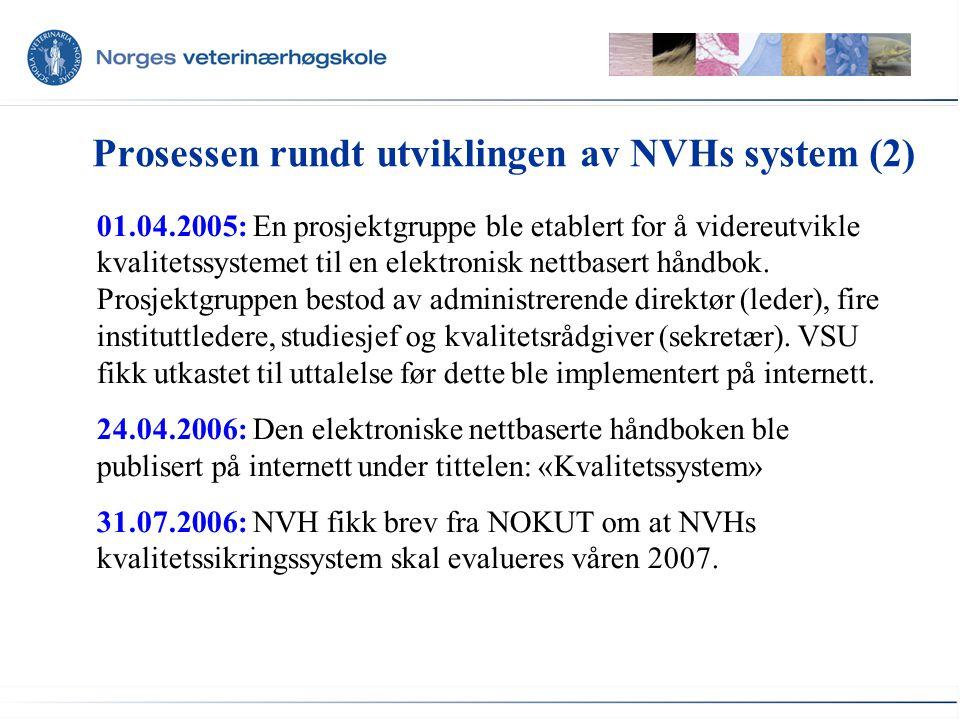 Oppbyggingen av kvalitetssystemet på NVH •NVH har inndelt kvalitetssystemet i seks kvalitets- områder (NVHs viktigste områder for studiekvalitet), med overordnet mål og ansvar.