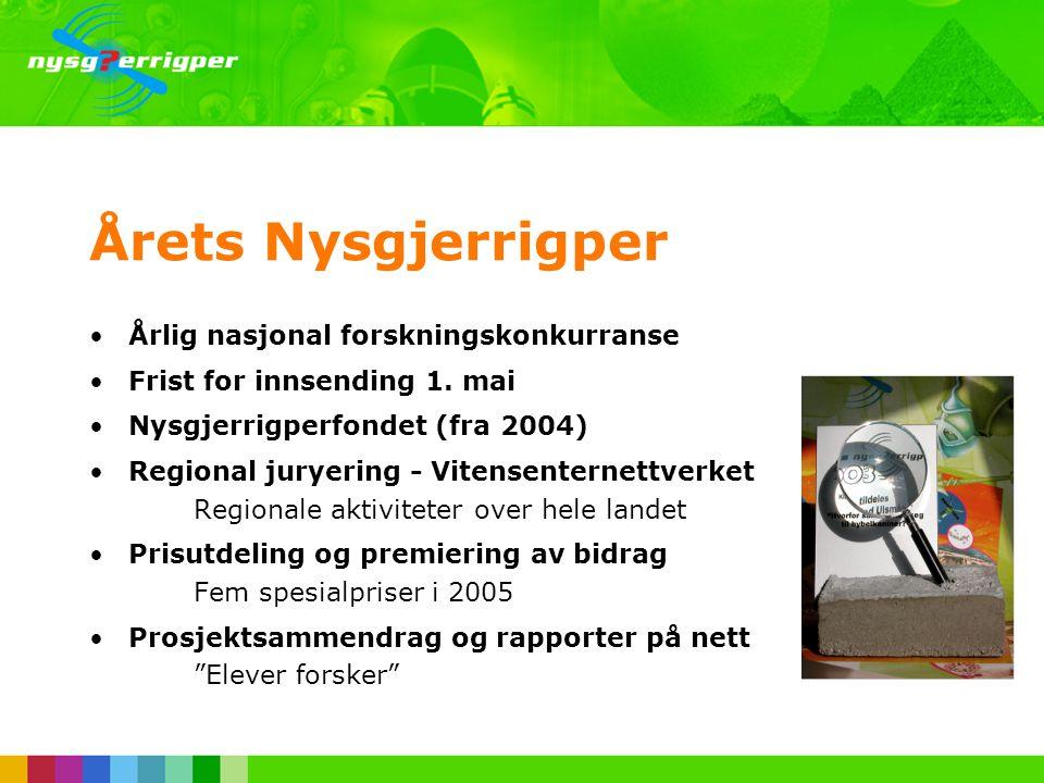 •1990: Årets Nysgjerrigper •1993: Nysgjerrigperiskopet på NRK TV •1994: Klubb med eget blad •1997: Nysgjerrigpers arbeidsmetode •2001: Deltakelse på f