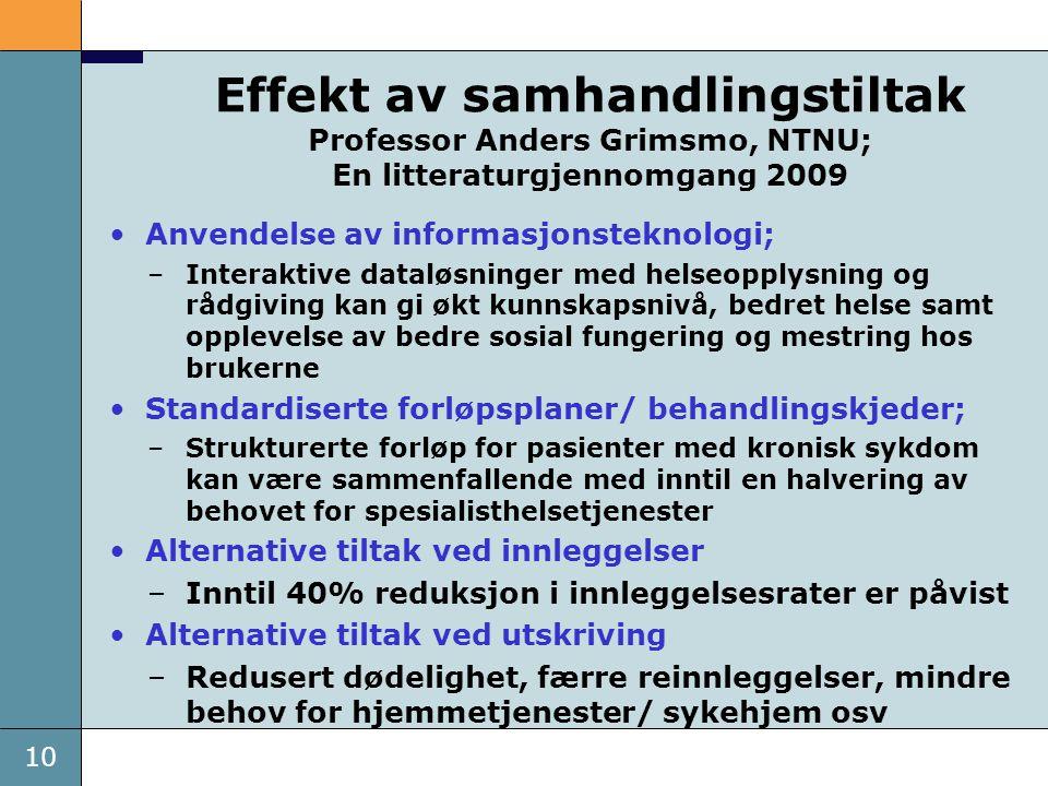 10 Effekt av samhandlingstiltak Professor Anders Grimsmo, NTNU; En litteraturgjennomgang 2009 •Anvendelse av informasjonsteknologi; –Interaktive datal