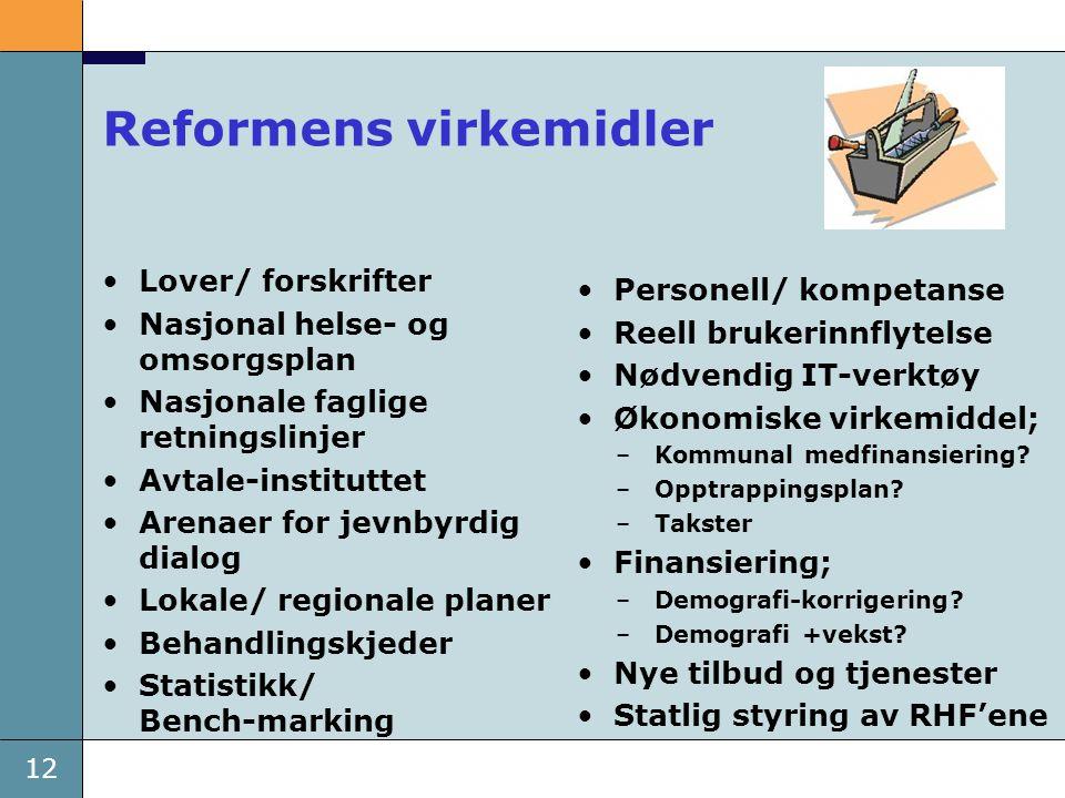 12 Reformens virkemidler •Lover/ forskrifter •Nasjonal helse- og omsorgsplan •Nasjonale faglige retningslinjer •Avtale-instituttet •Arenaer for jevnby