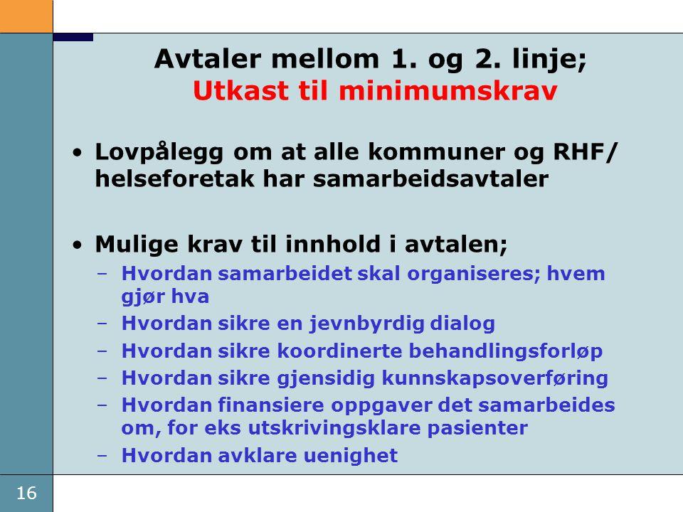 16 Avtaler mellom 1. og 2. linje; Utkast til minimumskrav •Lovpålegg om at alle kommuner og RHF/ helseforetak har samarbeidsavtaler •Mulige krav til i