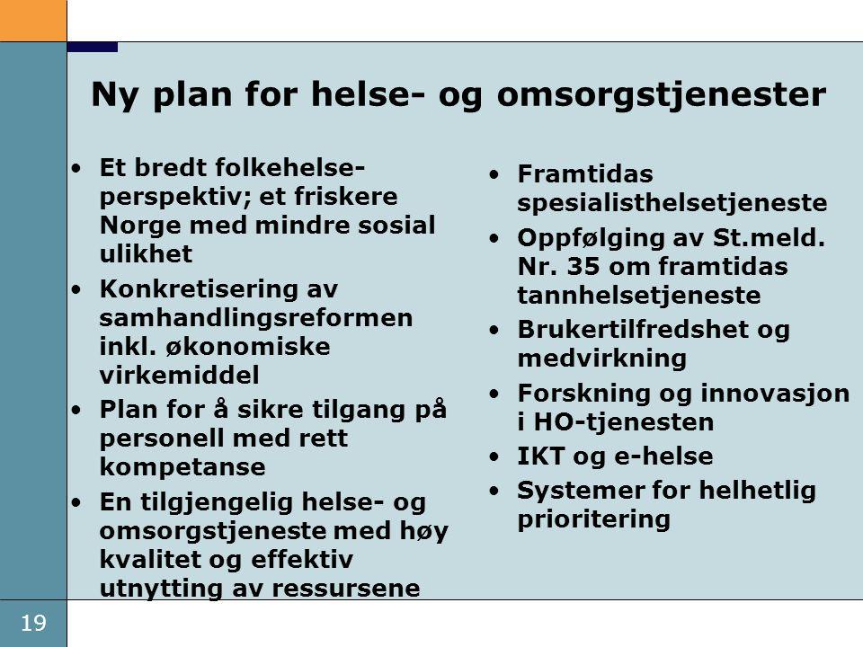 19 Ny plan for helse- og omsorgstjenester •Et bredt folkehelse- perspektiv; et friskere Norge med mindre sosial ulikhet •Konkretisering av samhandling