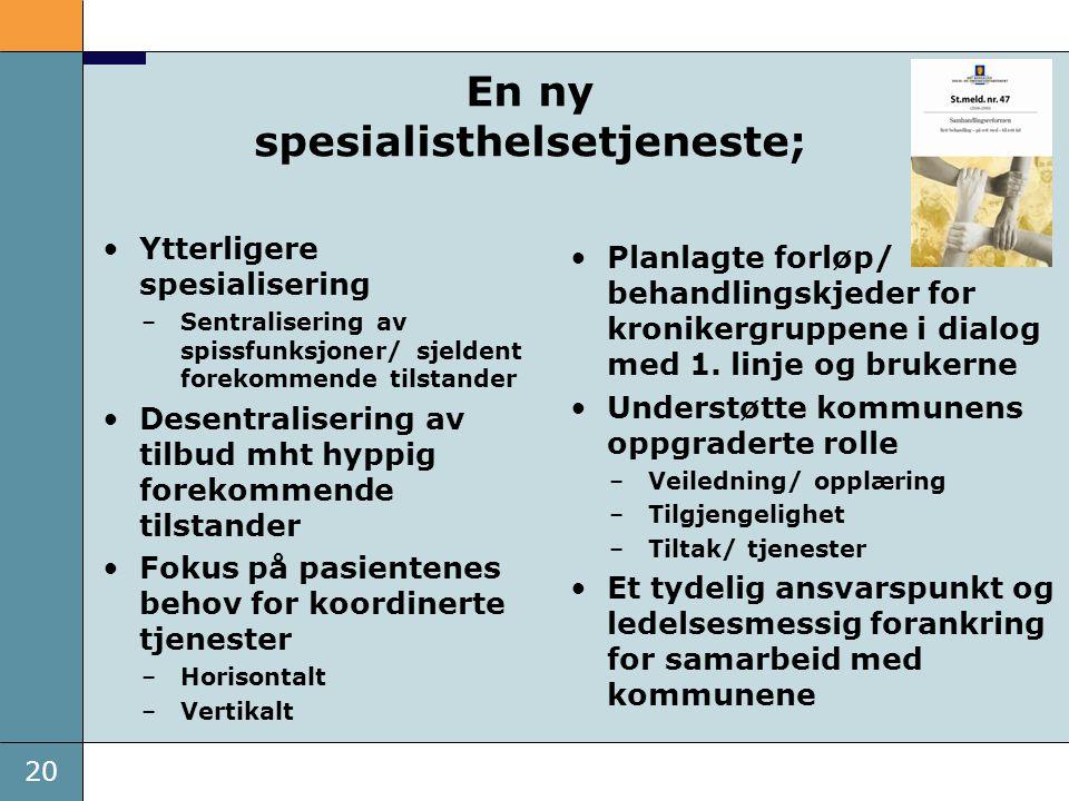 20 En ny spesialisthelsetjeneste; •Ytterligere spesialisering –Sentralisering av spissfunksjoner/ sjeldent forekommende tilstander •Desentralisering a