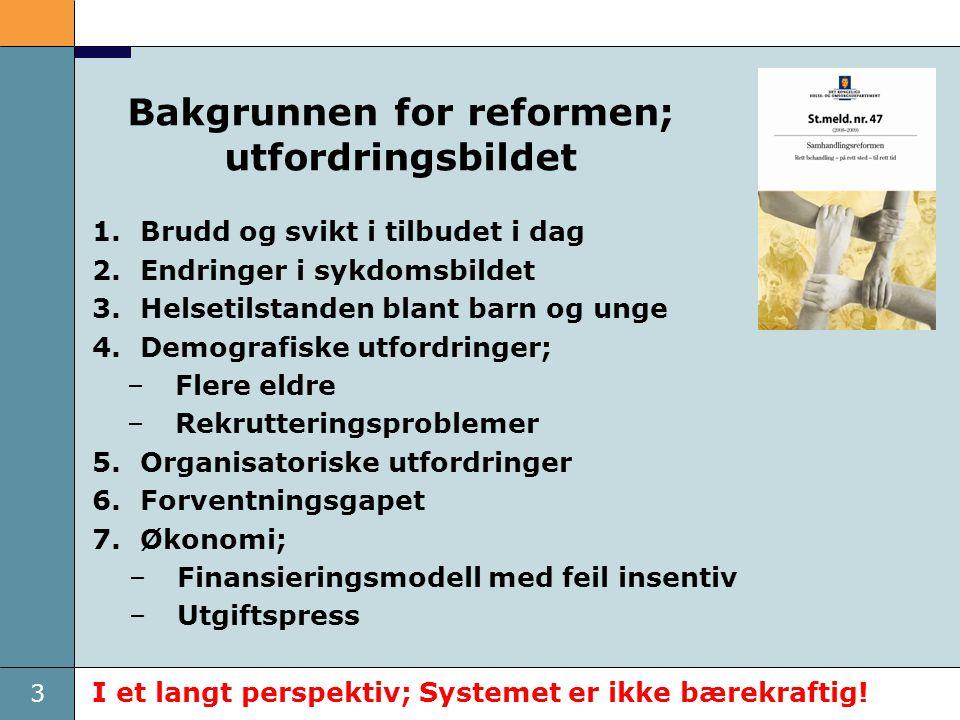 3 Bakgrunnen for reformen; utfordringsbildet 1.Brudd og svikt i tilbudet i dag 2.Endringer i sykdomsbildet 3.Helsetilstanden blant barn og unge 4.Demo