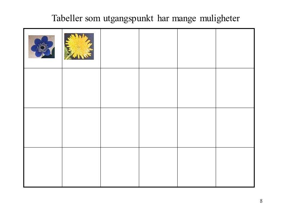 8 Tabeller som utgangspunkt har mange muligheter
