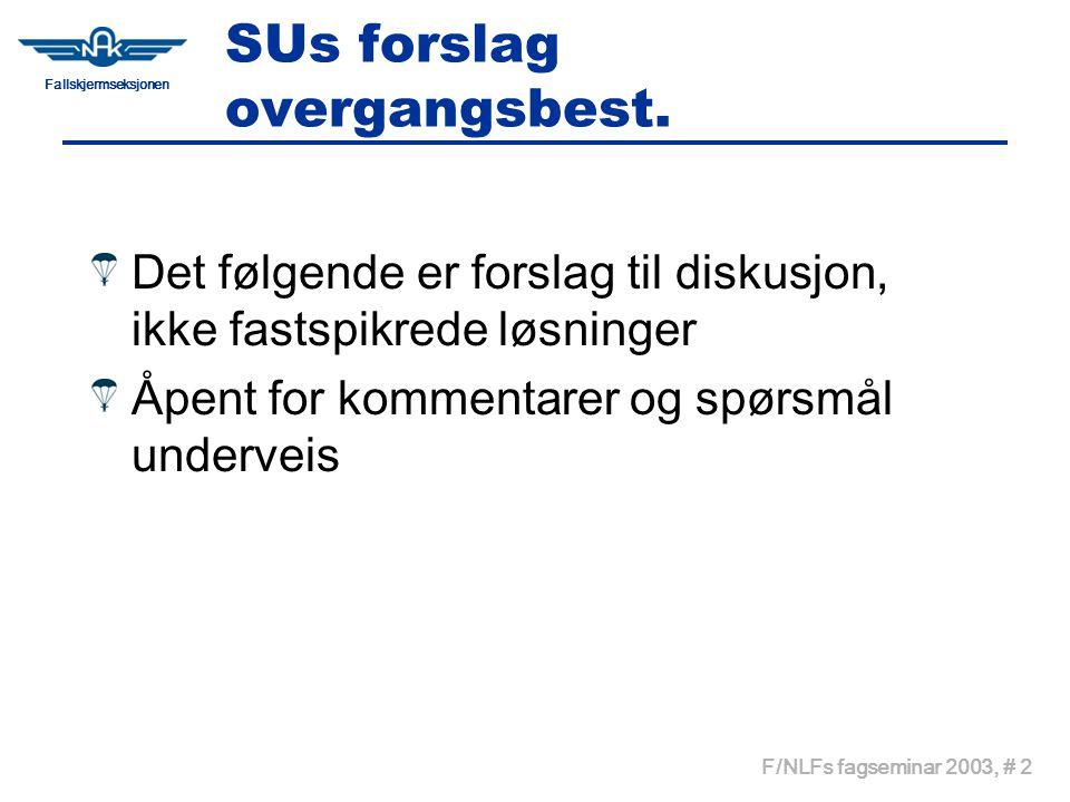 Fallskjermseksjonen F/NLFs fagseminar 2003, # 2 SUs forslag overgangsbest. Det følgende er forslag til diskusjon, ikke fastspikrede løsninger Åpent fo