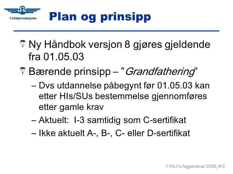 Fallskjermseksjonen F/NLFs fagseminar 2003, # 3 Plan og prinsipp Ny Håndbok versjon 8 gjøres gjeldende fra 01.05.03 Bærende prinsipp – Grandfathering –Dvs utdannelse påbegynt før 01.05.03 kan etter HIs/SUs bestemmelse gjennomføres etter gamle krav –Aktuelt: I-3 samtidig som C-sertifikat –Ikke aktuelt A-, B-, C- eller D-sertifikat