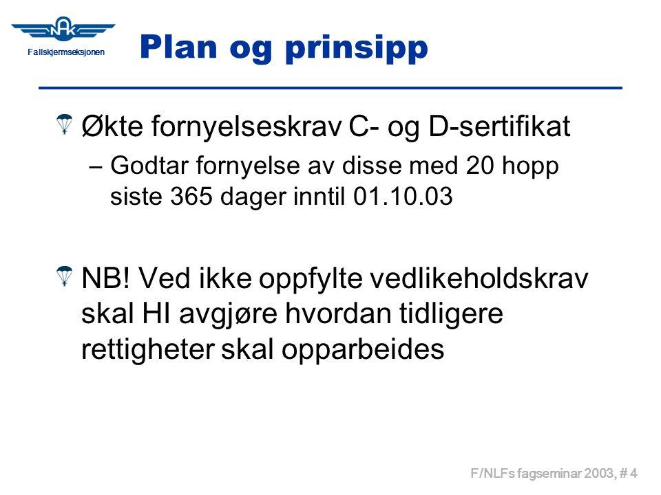 Fallskjermseksjonen F/NLFs fagseminar 2003, # 4 Plan og prinsipp Økte fornyelseskrav C- og D-sertifikat –Godtar fornyelse av disse med 20 hopp siste 365 dager inntil 01.10.03 NB.