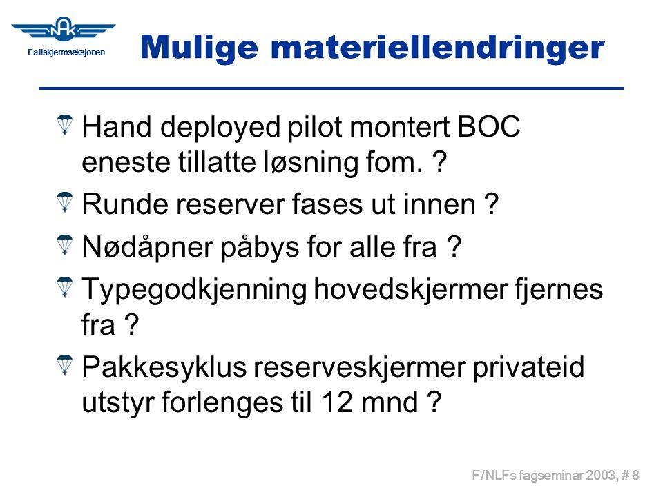 Fallskjermseksjonen F/NLFs fagseminar 2003, # 8 Mulige materiellendringer Hand deployed pilot montert BOC eneste tillatte løsning fom. ? Runde reserve