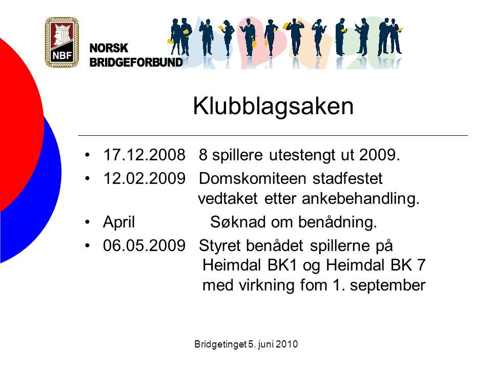 Bridgetinget 5. juni 2010 Klubblagsaken •17.12.2008 8 spillere utestengt ut 2009.