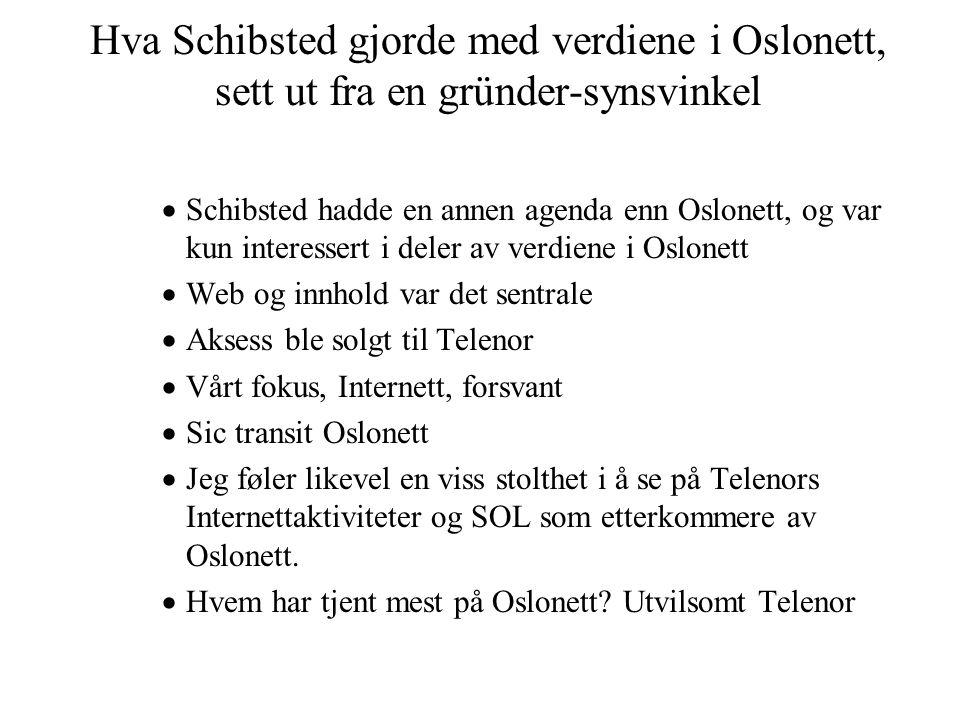 Hva Schibsted gjorde med verdiene i Oslonett, sett ut fra en gründer-synsvinkel  Schibsted hadde en annen agenda enn Oslonett, og var kun interessert i deler av verdiene i Oslonett  Web og innhold var det sentrale  Aksess ble solgt til Telenor  Vårt fokus, Internett, forsvant  Sic transit Oslonett  Jeg føler likevel en viss stolthet i å se på Telenors Internettaktiviteter og SOL som etterkommere av Oslonett.