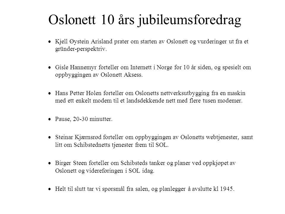 Oslonett 10 års jubileumsforedrag  Kjell Øystein Arisland prater om starten av Oslonett og vurderinger ut fra et gründer-perspektriv.
