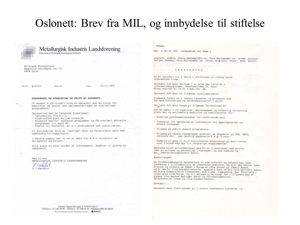 Oslonett: Brev fra MIL, og innbydelse til stiftelse