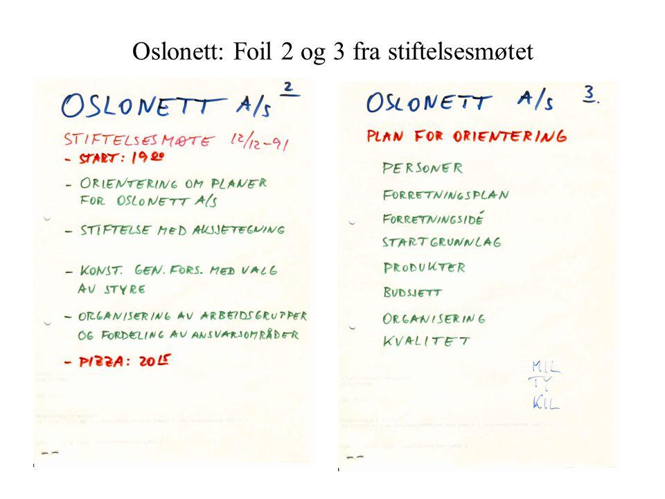Oslonett: Foil 2 og 3 fra stiftelsesmøtet