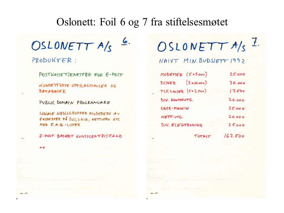 Oslonett: Foil 6 og 7 fra stiftelsesmøtet