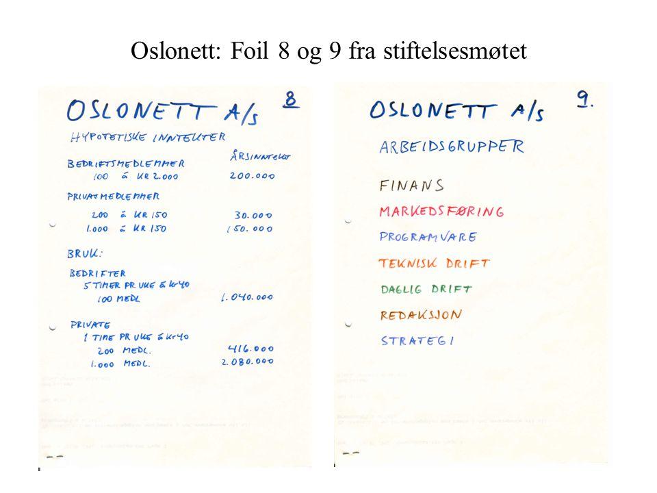 Oslonett: Foil 8 og 9 fra stiftelsesmøtet