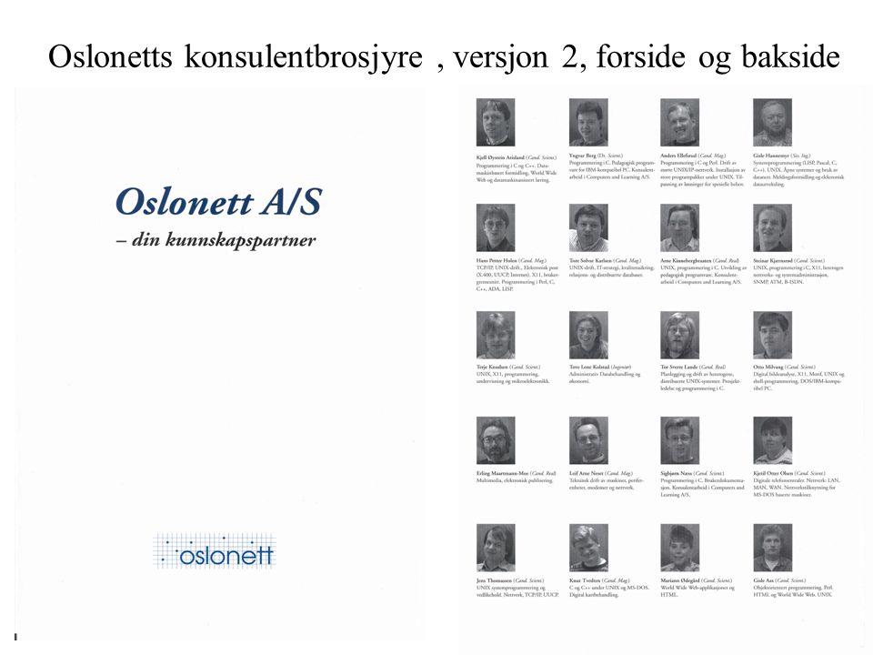 Oslonetts konsulentbrosjyre, versjon 2, forside og bakside