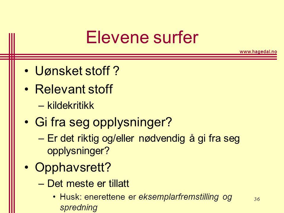 www.hagedal.no 36 Elevene surfer •Uønsket stoff ? •Relevant stoff –kildekritikk •Gi fra seg opplysninger? –Er det riktig og/eller nødvendig å gi fra s