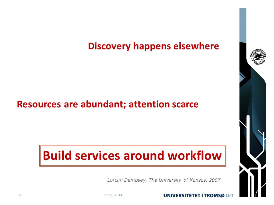 27.06.20141627.06.201416 Discovery happens elsewhere Resources are abundant; attention scarce Build services around workflow Lorcan Dempsey, The University of Kansas, 2007