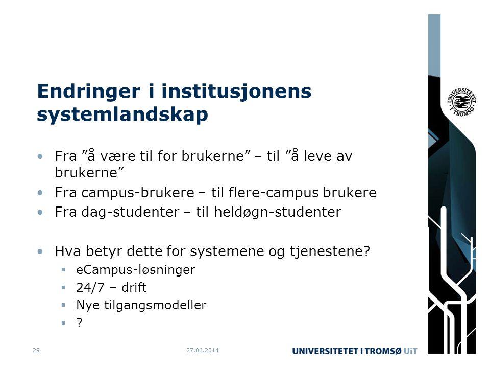 27.06.20142927.06.201429 Endringer i institusjonens systemlandskap •Fra å være til for brukerne – til å leve av brukerne •Fra campus-brukere – til flere-campus brukere •Fra dag-studenter – til heldøgn-studenter •Hva betyr dette for systemene og tjenestene.