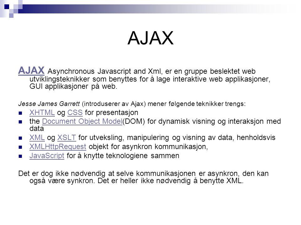 AJAX AJAX Asynchronous Javascript and Xml, er en gruppe beslektet web utviklingsteknikker som benyttes for å lage interaktive web applikasjoner, GUI applikasjoner på web.
