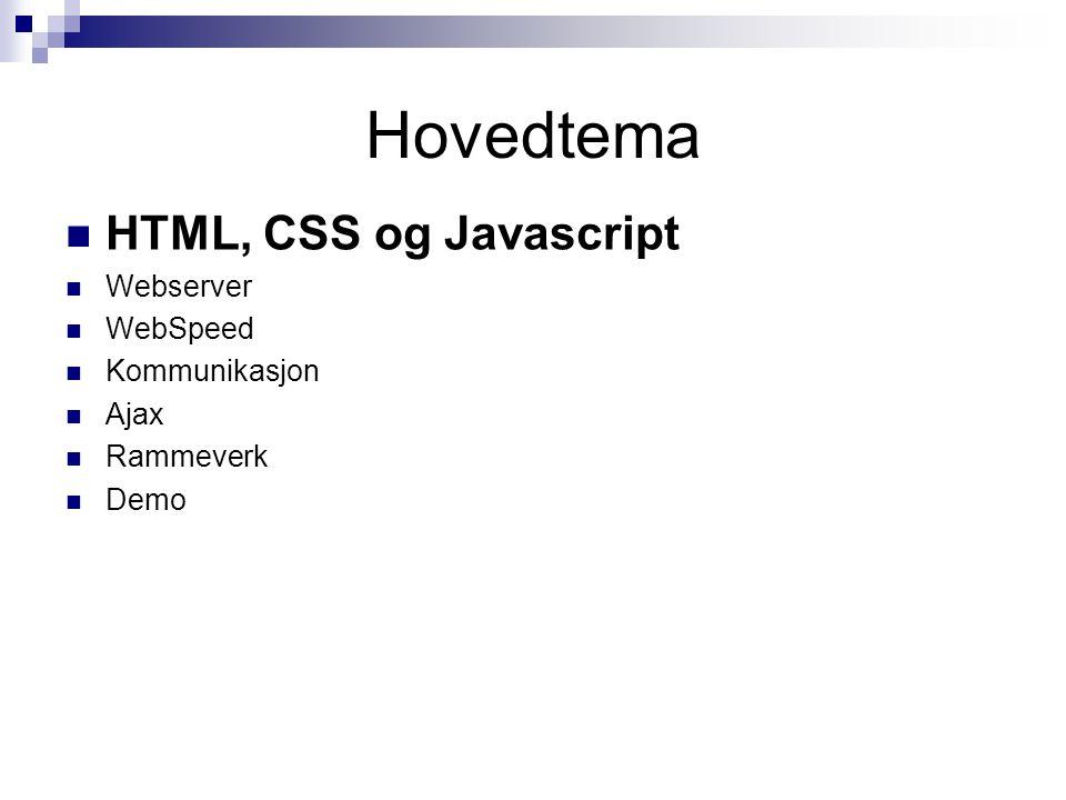 HTML, Javascript, CSS og DOM HTMLHTML Hypertext Markup Language, hvor hypertext refererer til hyperlinks, hvor hyper viser til at det ikke er linært, dvs.