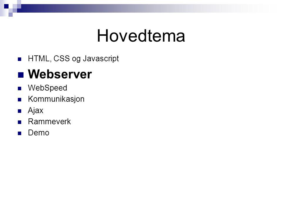 Demo • Ren HTML • Kommunikasjon med webserver • WebSpeed – SpeedScripting • Kommunikasjon med webserver og WebSpeed Messenger (POX - Plain Old XML) • Ajax • DOM, XML og Javascript • WebSpeed + AppServer = gjenbruk • TomCat + AppServer istedet for webservices • Ved å kalle TomCat( Servlet), vil en kunne gå direkte til AppServer • Sonic HTTP request reader + AppServer gir også en sterk og fleksibel arkitektur • jQuery • Den enkle verden 