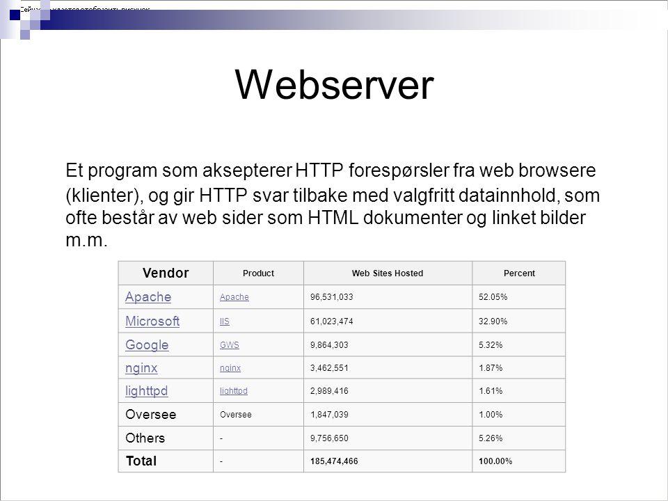 Webserver Et program som aksepterer HTTP forespørsler fra web browsere (klienter), og gir HTTP svar tilbake med valgfritt datainnhold, som ofte består av web sider som HTML dokumenter og linket bilder m.m.