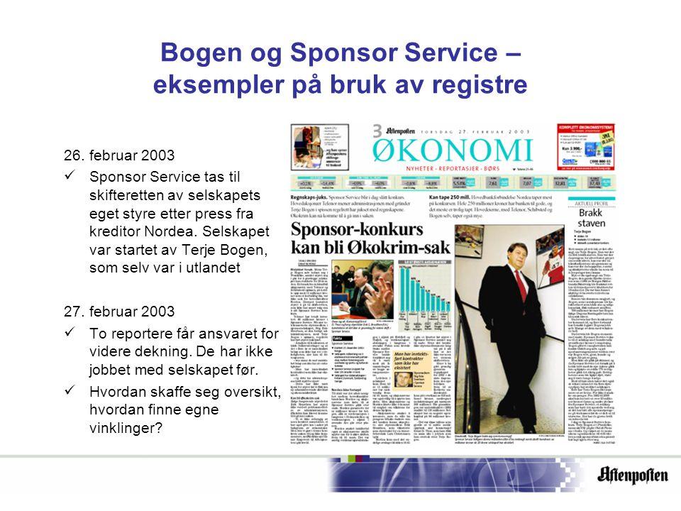 Bogen og Sponsor Service – eksempler på bruk av registre 26.