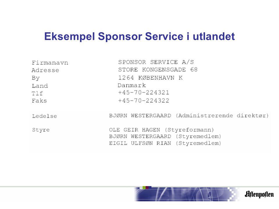 Eksempel Sponsor Service i utlandet