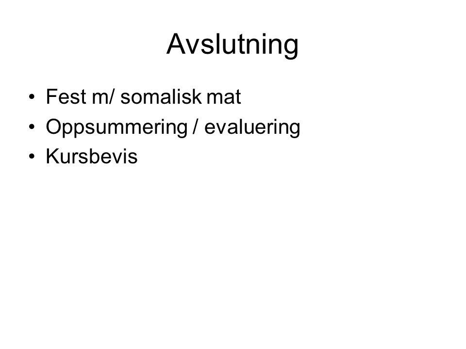 Avslutning •Fest m/ somalisk mat •Oppsummering / evaluering •Kursbevis