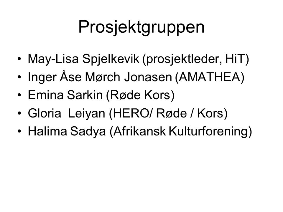 Prosjektgruppen •May-Lisa Spjelkevik (prosjektleder, HiT) •Inger Åse Mørch Jonasen (AMATHEA) •Emina Sarkin (Røde Kors) •Gloria Leiyan (HERO/ Røde / Kors) •Halima Sadya (Afrikansk Kulturforening)