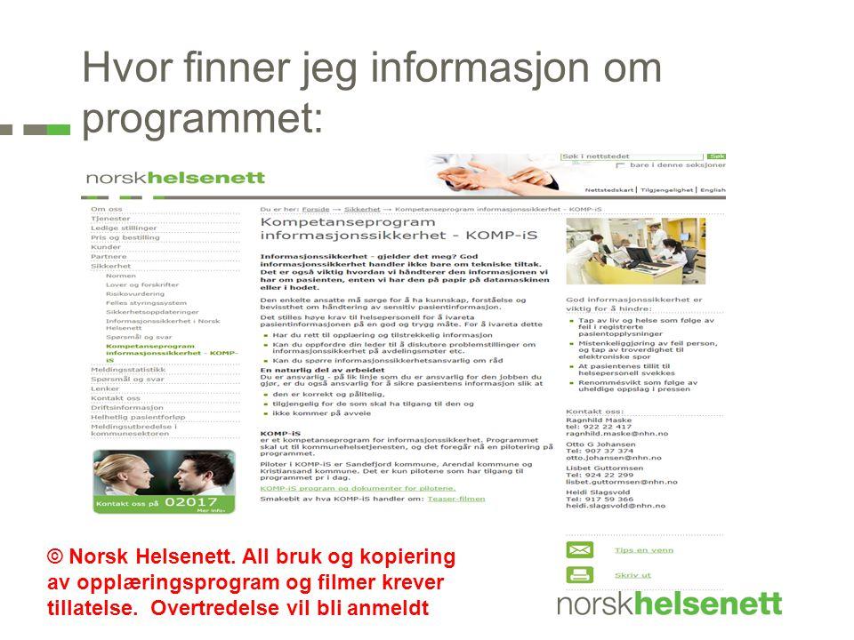 Hvor finner jeg informasjon om programmet: © Norsk Helsenett.