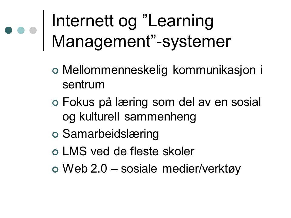 Internett og Learning Management -systemer Mellommenneskelig kommunikasjon i sentrum Fokus på læring som del av en sosial og kulturell sammenheng Samarbeidslæring LMS ved de fleste skoler Web 2.0 – sosiale medier/verktøy
