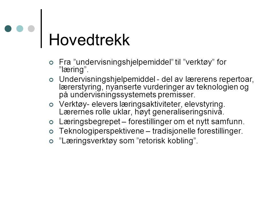 """Hovedtrekk Fra """"undervisningshjelpemiddel"""" til """"verktøy"""" for """"læring"""". Undervisningshjelpemiddel - del av lærerens repertoar, lærerstyring, nyanserte"""