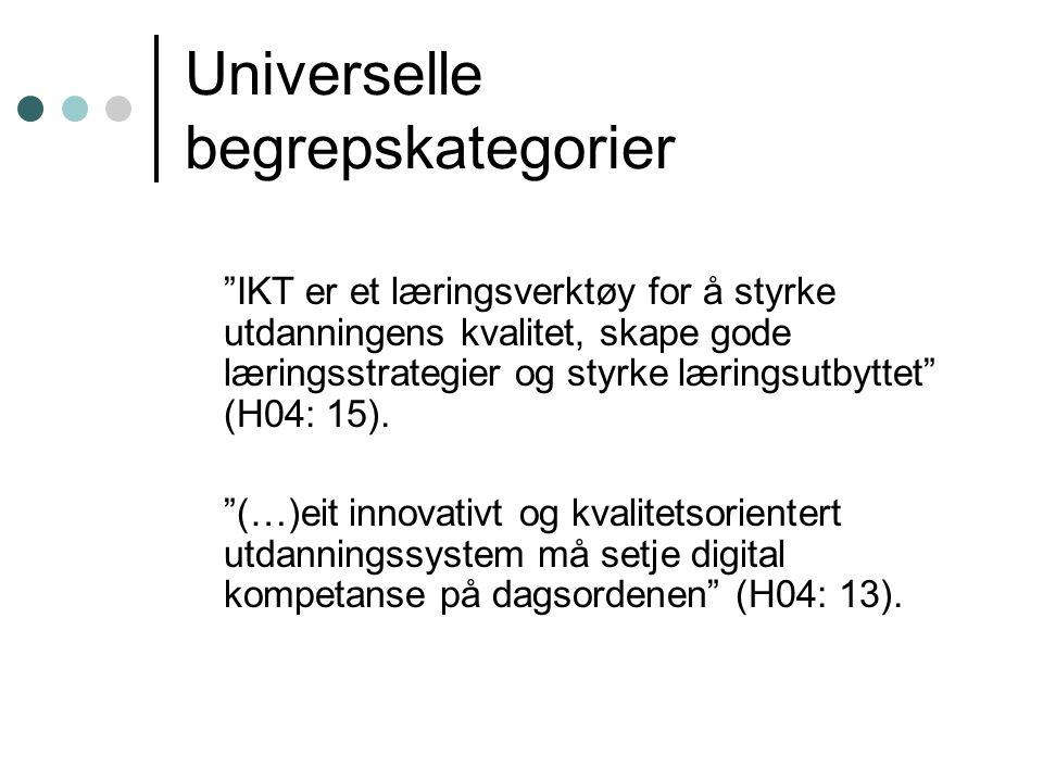 Universelle begrepskategorier IKT er et læringsverktøy for å styrke utdanningens kvalitet, skape gode læringsstrategier og styrke læringsutbyttet (H04: 15).