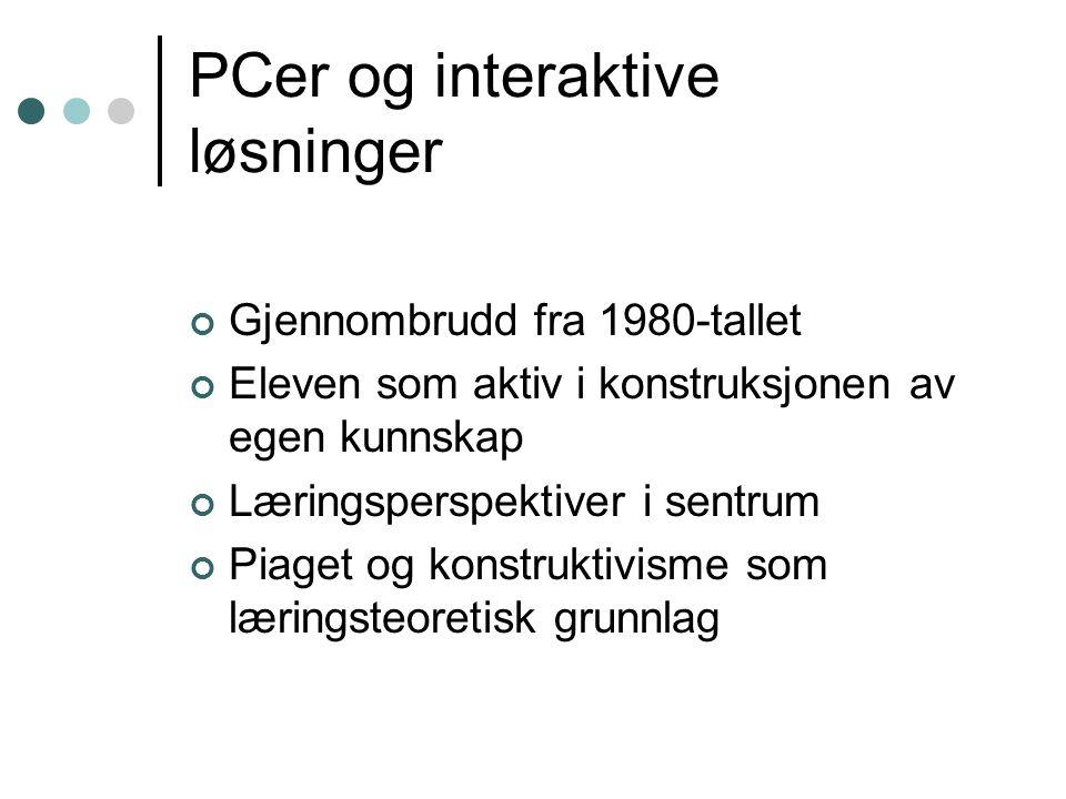 PCer og interaktive løsninger Gjennombrudd fra 1980-tallet Eleven som aktiv i konstruksjonen av egen kunnskap Læringsperspektiver i sentrum Piaget og konstruktivisme som læringsteoretisk grunnlag