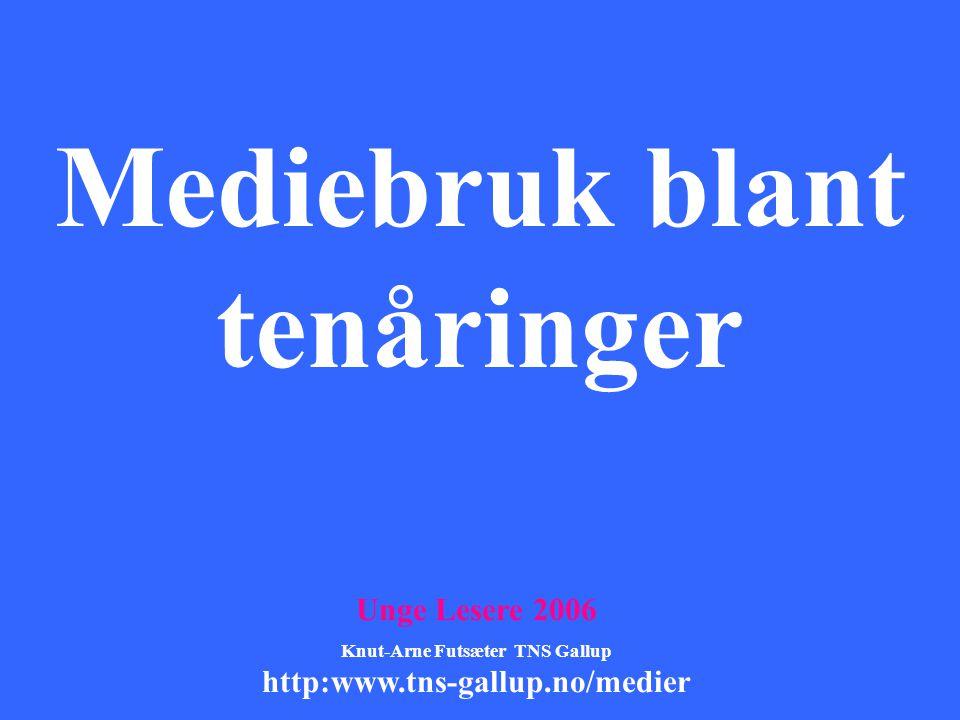 Mediebruk blant tenåringer Unge Lesere 2006 Knut-Arne Futsæter TNS Gallup http:www.tns-gallup.no/medier