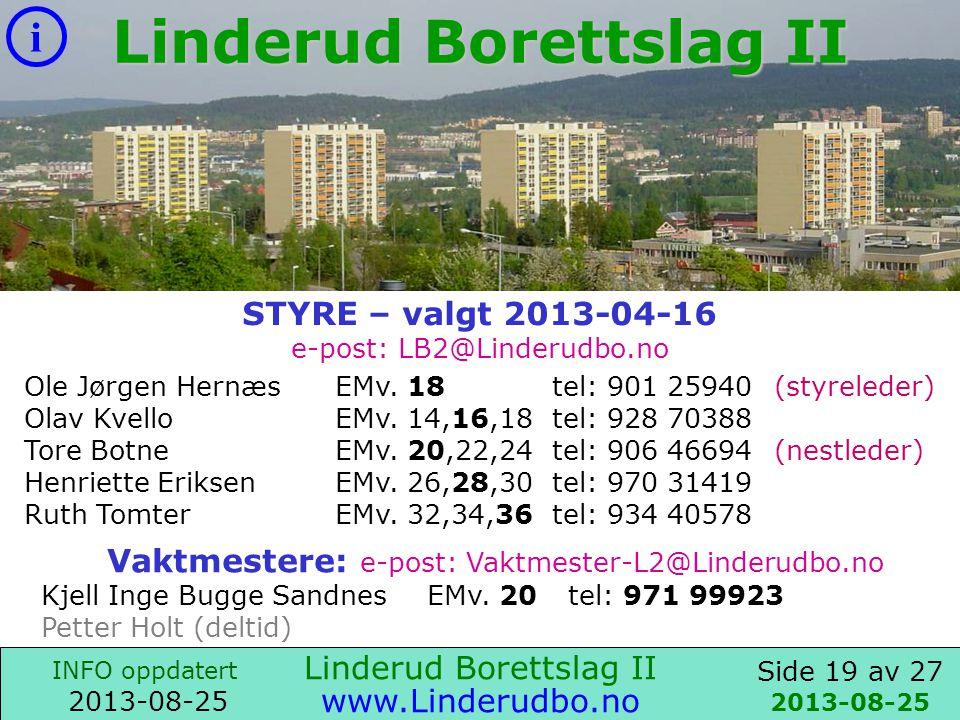 Side 18 av 27 i INFO oppdatert 2013-08-25 www.Linderudbo.no Parkeringsanlegget består av 57 garasjer og 26 biloppstillingsplasser.