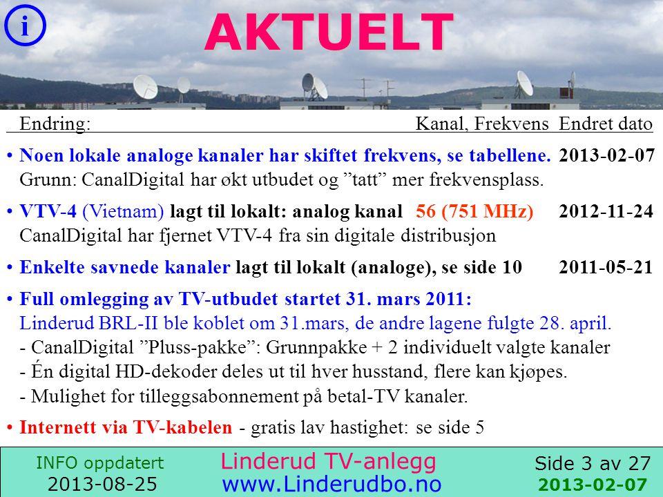 Side 2 av 27 i INFO oppdatert 2013-08-25 www.Linderudbo.no Linderud TV-anlegg 2011-04-30 Linderud TV-anlegg Vi distribuerer TV til 752 husstander: •CanalDigital TV Pluss-pakke : Grunnpakke +2 individuelt valgte kanaler - Én digital HD-dekoder er utdelt ut til hver husstand.